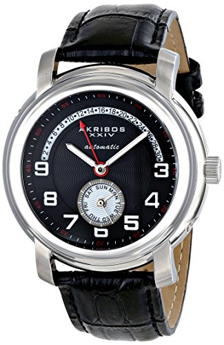 Akribos Xxiv Mens Automatic Watch - Akribos XXIV Men's AK547BK Automatic Self-Wind Movement Watch with Black Dial and Black Genuine Leather Strap