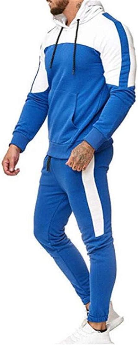 Rrive Mens Color Block Hoodie Sweatshirt 2 Pieces Pants Sweatsuit Outfit Set