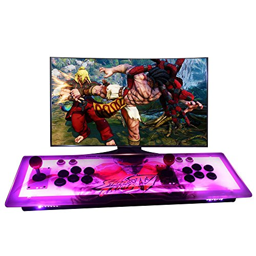 MOSTOP Arcade Console Games Box 999 in 1 Pandora's Box 5S Arcade Fightstick Machine 2 Players Metal Box with Dream Color LED Lights Arcade Joystick VGA/HDMI Output (LED Light)