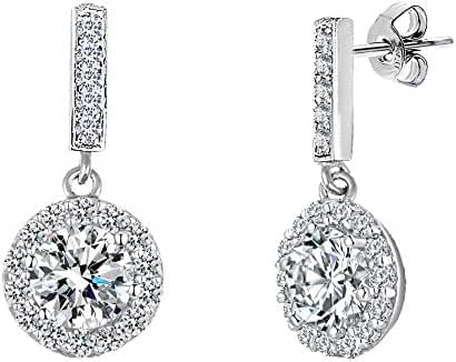 18K White Gold Over Sterling Silver Round Halo Cubic Zirconia Dangling Post Earring
