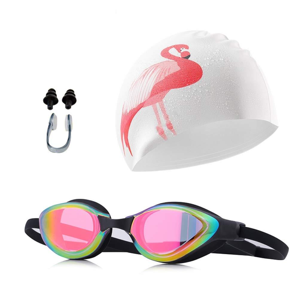 YYJDM Professional Swim Goggles Adult Pool Tinted Multi color Swimming Glasses Silicone Swim Cap Men Women Anti-UV Swimming Goggle