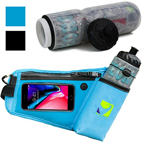 Georo Fit Running Hydration Belt with 22oz Insulated Water Bottle (Light Blue)