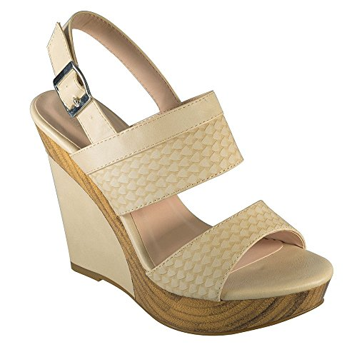 de384feec delicate Angelina Women s Vegan Leather Wood PU Wedge Sandal ...
