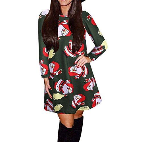 Women Dress,Haoricu Fall Winter Christmas Santa Snowman Women Long Sleeve Printing Party Dress (XXL, Green)