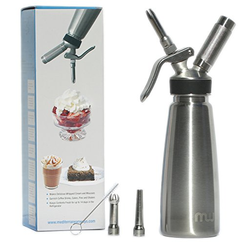 Professional Grade 1 Pint Whipped Cream Dispenser - 100% Stainless Steel Whipped Cream Maker Includes 3 Decorating Tips - No Plastic - Whip Cream Machine