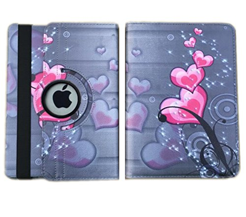 IPad Case Cover Rotating Stand Auto Wake Up / Sleep Function For ipad Mini 1st , 2nd , 3rd Generation Compatible models; MD531LL/A , MD529LL/A or A1432 (Pink Heart Flower Design) (Flowers For Wake)