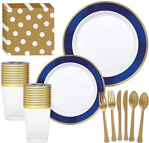 Party City Premium Royal Blue Border and Gold Tableware Supplies for 20 Guests, Includes Plates, Napkins, and Utensils