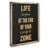 End Of Comfort Zone Motivational Quote CANVAS Wall Art Home Décor