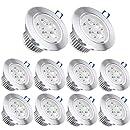 Pack of 10,Pocketman 110V 5W LED Ceiling Light Downlight,Warm White Spotlight Lamp Recessed Lighting Fixture,with LED Driver