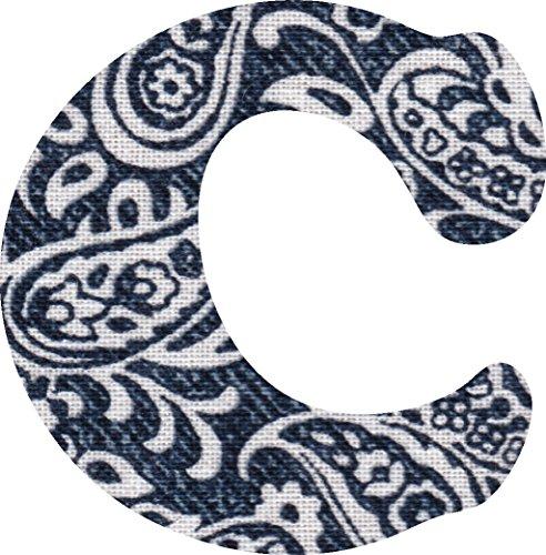 ペイズリー柄 生地 アルファベット C アップリケ ネイビー アイロン接着可能 大文字 7cmの商品画像