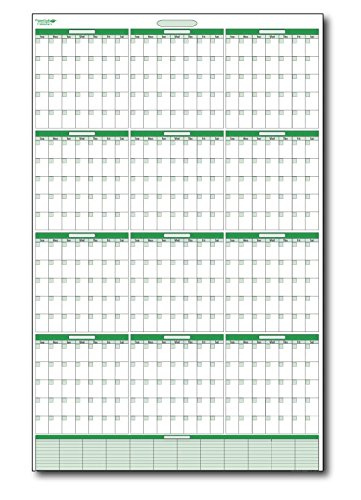 (Earth Green Yearly Undated Vertical Dry-erasable wall planner No Months Preprinted. with Extra Memo Area 24 in. wide X 36 in. Tall)