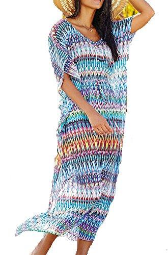 Casual de Maillots Tunique Maxi Up de de Caftan Femme Fleur Courtes Soire en Sarong Plage Soie Bain Cache Bohme Robe Cover Kimino pour Long Manches Longue Chic Bikini t 04 Color Imprim Mousseline wpAqZWUp