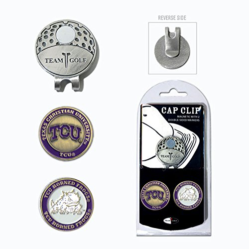 (Team Golf NCAA TCU Horned Frogs Golf Cap Clip with 2 Removable Double-Sided Enamel Magnetic Ball Markers, Attaches Easily to)
