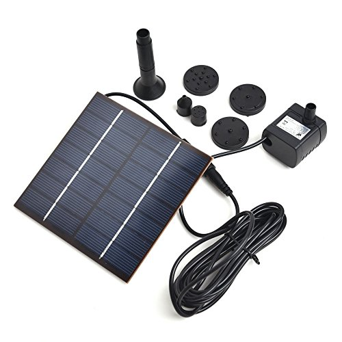 EConcept Solar Fountain Kit Pump Outdoor Watering Submersible Pump Easy Install and Operate 3 Style Water Stream Changeable Nozzle for Home, Garden, Pond, Patio Decoration FL3A3