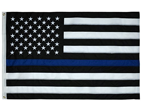 Thin Blue Line American Police Flag 3x5 ft. - Embroidered Stars - Sewn Stripes - Brass Grommets - UV Protection - American Police Flag Honoring Law Enforcement Officers (3 by 5 Foot, Blue) by ATHX