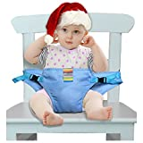 The Washable Portable Travel High Chair Booster Baby Seat with straps Toddler Safety Harness Baby feeding the strap (6 Color) (Blue)