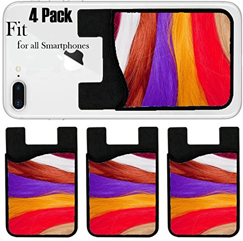 (Liili Phone Card holder sleeve/wallet for iPhone Samsung Android and all smartphones with removable microfiber screen cleaner Silicone card Caddy(4 Pack) Artificial Hair Used for Production of Wigs)