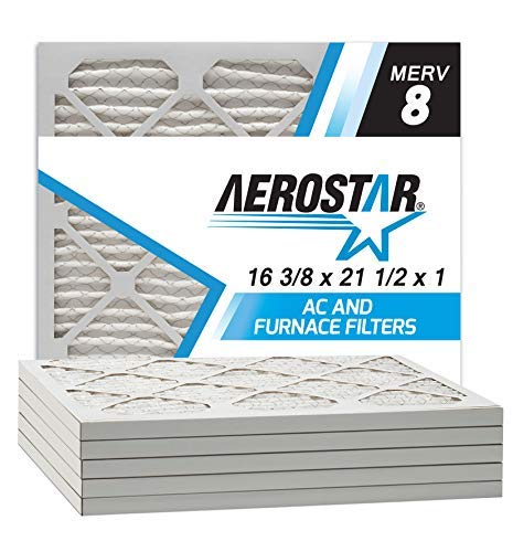 Aerostar 16 3/8x21 1/2x1 MERV 8 Pleated Air Filter, Made in the USA, 6-Pack (Custom Furnace Filters)
