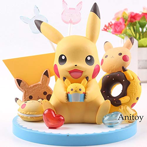 12cm (4.7 inch) - Kawaii Pikachu Figure / Tea Party with Cupcake Doughnut Sugar PVC Action Figures by GrandToyZone FIGURE SERIES