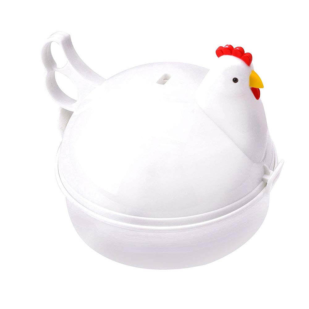 Jree Ash Microwave Egg Cooker,Microwave Egg Boiler with Handle and 4 Eggs Capacity,No Piercing Required Hard Boiled Egg Cooker,Dishwasher Safe Hen Egg Poacher,Chicken Shape(White)