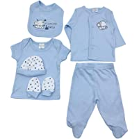 Baby Organic (GOTS Certified) Pants and Top Set (Blue 6 Pieces) - 100% Cotton