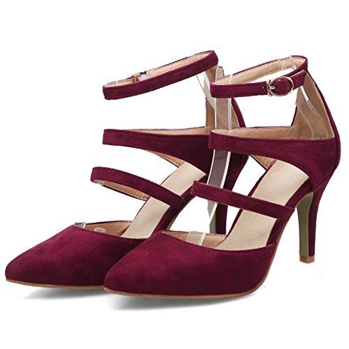 Aguja de Mujer COOLCEPT Sandalias Al Cerrado Tobillo Tacon Zapatos Rojo Moda p78qAw4