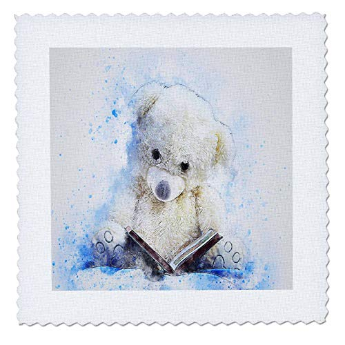 3dRose Lens Art by Florene - Watercolor Art - Image of Painting of Really Cute Teddy Bear Reads Book - 8x8 inch Quilt Square (qs_300360_3)