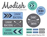 Waterproof Name Label Kit, Dishwasher Safe, Boy, School Name Labels, Daycare Name Labels, Camp Name Labels, Clothing Tags, Name Tags, Tribal, Arrows, Chevron, Blue, Mint, Gray