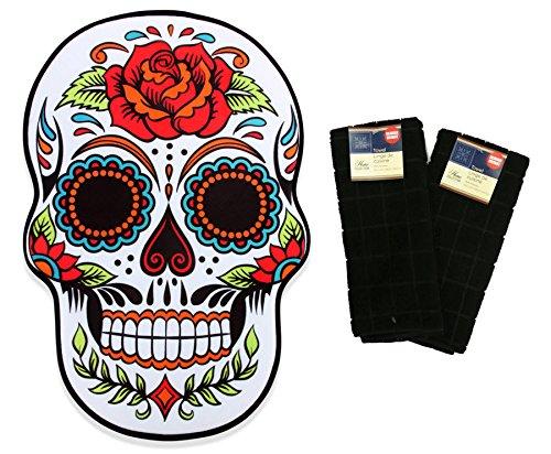 r Skull Memory Foam Bath Kitchen Mat and Matching Black Hand Towels ()