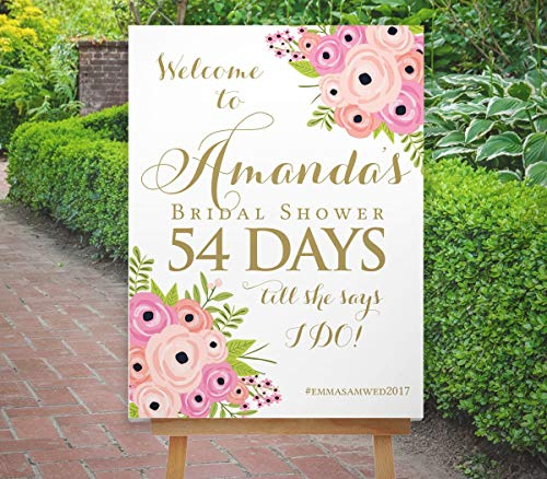 Dozili Bridal Shower Countdown Sign Bridal Shower Sign Reception Sign Printable Boho Blush Pink Navy Gold The St Helena Collection ()