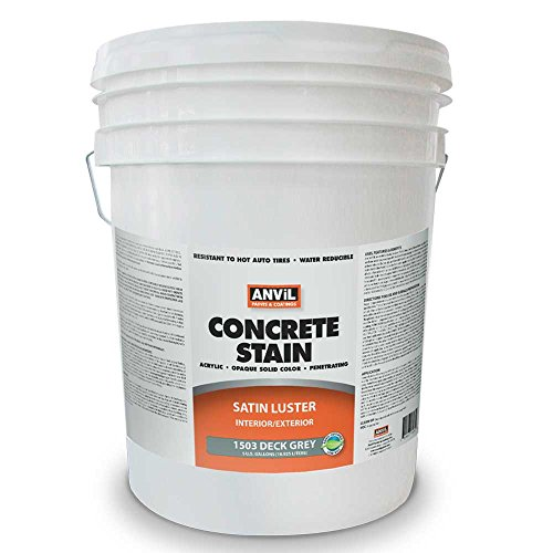 (Anvil 1500 Concrete Stain, Interior Exterior Concrete Coating, Penetrating Acrylic Paint, Available in 7 Solid Colors, Deck Grey 5 Gallon)