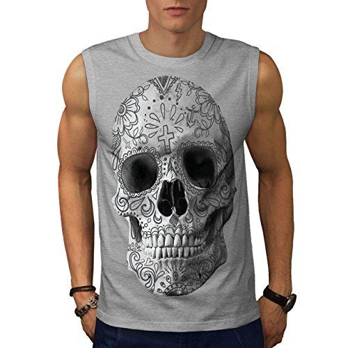 wellcoda Skull Face Painted Mens Sleevless T-Shirt, Tattoo Sport Top Grey 2XL