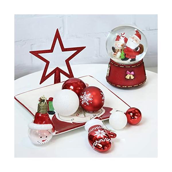 Victor's Workshop Addobbi Natalizi 100 Pezzi di Palline di Natale, Oh Cervo Rosso e Bianco Infrangibile Palla di Natale Ornamenti Decorazione per la Decorazione Dell'Albero di Natale 6 spesavip