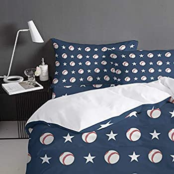 Image of All Like Baseball 4 Piece Bedding Set Duvet Cover Set- Queen Size Ultra Soft Microfiber Quilt Cover with Zipper Closure (1 Comforter Cover + 1 Flat Sheet + 2 Pillowcases)- Baseball and Stars Navy Home and Kitchen