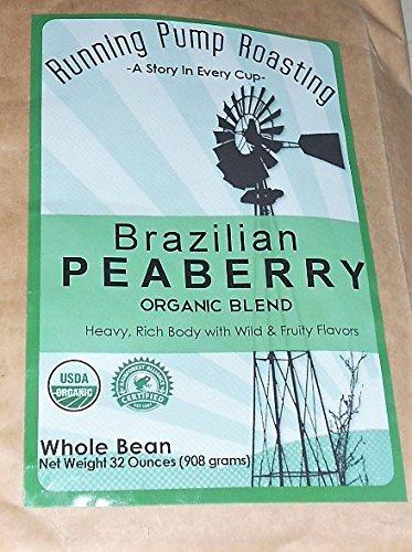 Running Pump Roasting Brazilian Peaberry Organic Blend Coffee Whole Bean 32oz Bag