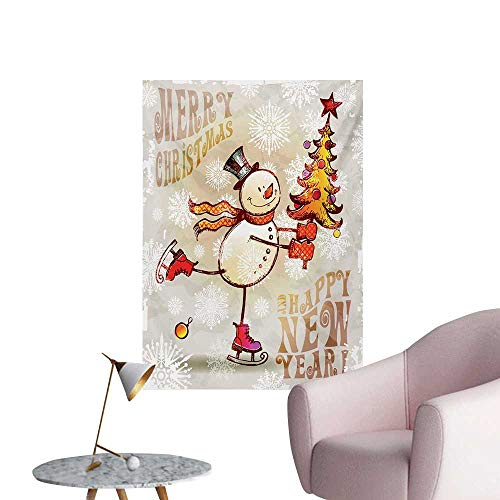 (Anzhutwelve Christmas Wallpaper Skating Happy Snowman with Christmas Tree Cheerful Hand Drawn Ornate SnowflakesMulticolor W20 xL28 Space Poster)