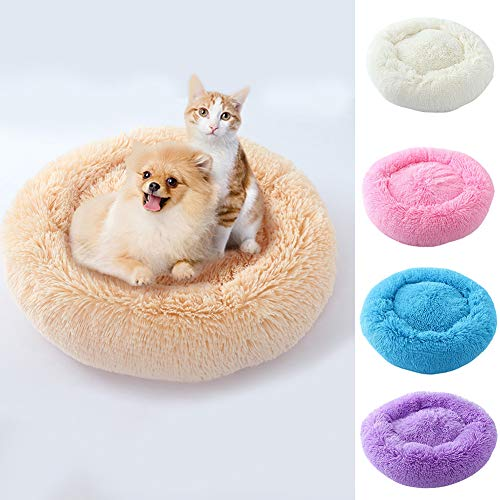 bromrefulgenc Pet Bed,Pet Cushion,Round Shape Plush Pet Dog Cat Nest Winter Puppy Kitten Warm House Bed Supplies - Purple ()