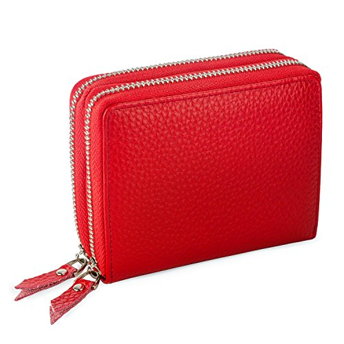 Privé Colorful Women's Wallet Made with RFID Blocking Materials and Genuine Leather - Reliable Identity Theft and Credit Card Protection to Keep Credit Card Numbers Secure - Red