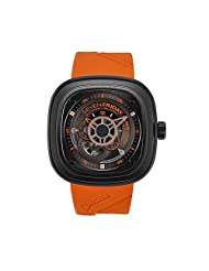 Seven Friday Men's P-Series 48mm Orange Rubber Band IP Steel Case Automatic Black Dial Analog Watch P3-04