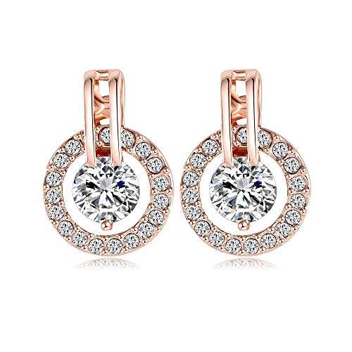 Rose Gold Plated Circle - NYKKOLA 18k Rose Gold Plated Circle Halo Stud Earring with Crystal Valentine's Jewelry Gift