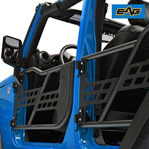 EAG 07-18 Jeep Wrangler JK 4 Door Only Tubular Safari Doors Off Road 4x4 Black Textured Set With Side ()
