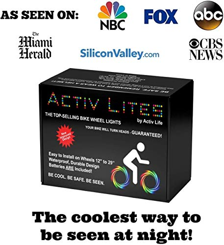 Activ Life Bike Wheel Lights (2 Tires, Blue) Best Gifts for Men for Christmas Stocking Stuffers & Birthday Gifts, Teens…