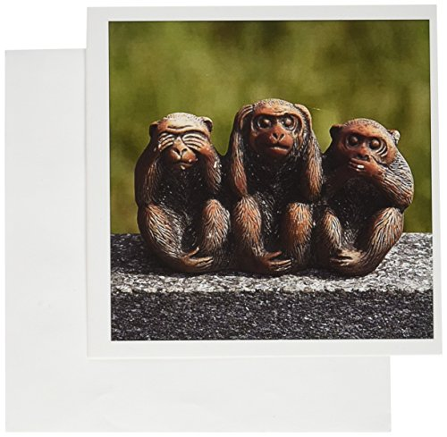 - 3dRose 3 Monkeys, Hear, See, Speak No Evil - Greeting Cards, 6 x 6