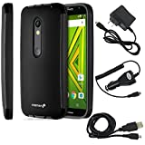 Fosmon Case and Charger Bundle Pack for Motorola Moto X Play/ DROID MAXX 2: HYBO-SNAP Body Protection Hybrid Case with Built-In Screen Protector + Micro USB Combo Pack (Travel Charger, Car Charger, and Data Cable) for Motorola Moto X Play/ DROID MAXX 2 - Black (TPU) /Black(PC)