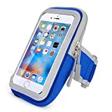 Escase Waterproof Cell Phone Armband: 4.7 Inch Case for iPhone6,6s,GalaxyS3/S4,iPhone5s/5c/5, - Adjustable Reflective Velcro Workout Band, Screen Protector & Wallet Card Slot (Blue)