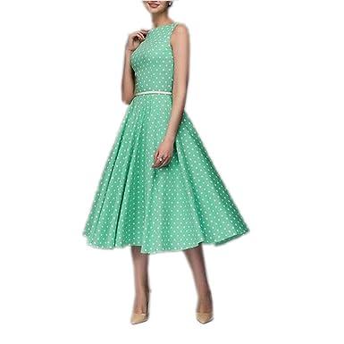 Vintage Dresses Women Elegant Summer Sleeveless O-Neck Vestidos Dot Print Mid-Calf Casual