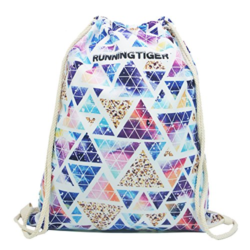 Artone Universo Lona Con Cordón Bolso Viajar Daypack Deportes Portátil Mochila Azul Light Purple Triangle