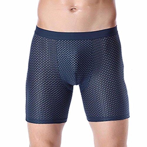 Price comparison product image Goddessvan Men's Sports Underpants Ice Silk Boxer Underwear, Anti Grinding Leg / Lengthen (XL,  Blue)