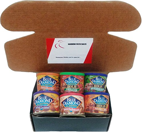 Blue Diamond Almonds Variety Pack, Care Package, or Gift Box. Includes: 6 Cans of Blue Diamond Flavored Almonds + Gift Box + Gift Card + Sanitizing Hand Wipes. Bundle of 6, 1 of Each Flavor