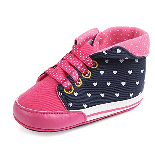 Lidiano Baby Girl Toddler High-top Heart Dot Canvas Soft Rubber Non Slip Sole Sneakers Crib Shoes 0-18 Months (12-18 Months, Rose) Heart Sole Sneakers